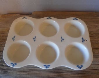Vintage ceramic bakeware, circa 1980s, 6 cup muffin or cupcake tin / pan in beige with blue designs and stoneware bottom with hearts
