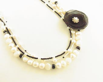 Fresh Water Pearl Necklace & Black Onyx, Black Blossom