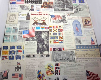 Vintage Patriotic Flags Fourth of July Americana Uncle Sam and Fireworks Ephemera Pack Lot C