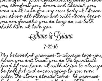 Wedding Vows Typography Art Sign - You choose size 8x10, 16x20, 20x24, 24x36 & type of sign material