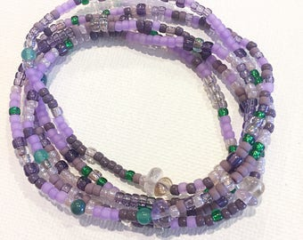 Amethyst Dream Stretch Wrap Bracelet, Necklace, Stackable, Layering Accessory, Gemstones, Jewelry Lilac Purple, Green Jade,  Mother of Pearl