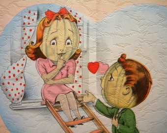 Vintage Unused Valentines Day Card Anthropomorphic Cantaloupe Wed Me