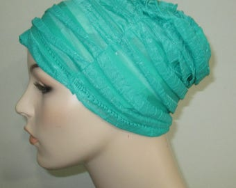 Chemo Ruffled Beanie Spring Green  Play Sleep Cap, Cancer Hat, Alopecia Kids and Adult Chemo Hat