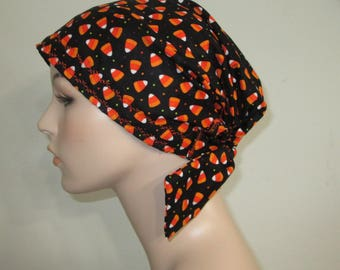 Scrub Cap  Chemo Scarf, Halloween Candy Print  Hat, Cancer Hat, Hijab, Alopecia Turban Pediatric Nurses Hat