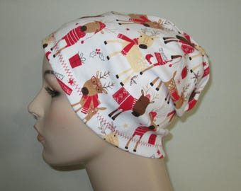 Chemo  Beanie  Hat Women's Christmas Reindeer  Hat Play Sleep Cap, Cancer Hat, Alopecia   Chemo Hat