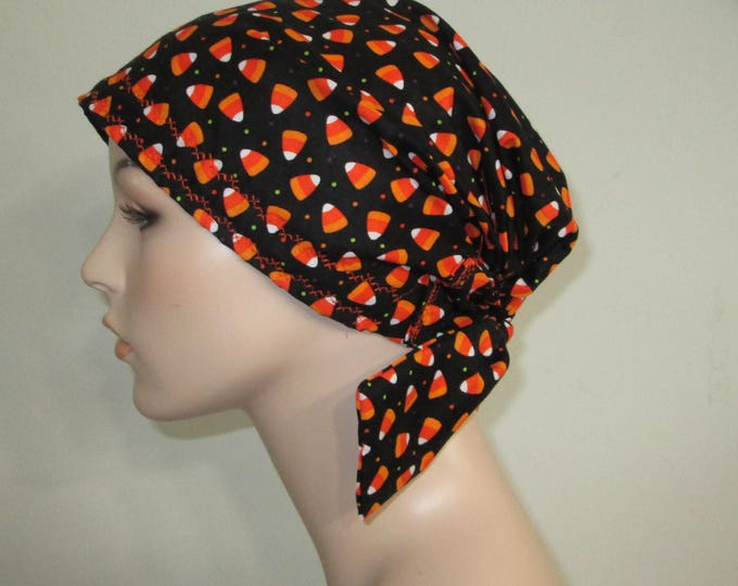 Featured listing image: Scrub Cap  Chemo Scarf, Halloween Candy Print  Hat, Cancer Hat, Hijab, Alopecia Turban Pediatric Nurses Hat