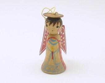 Vintage Christmas Ornament Angel Figurine Wood Angel Ornament