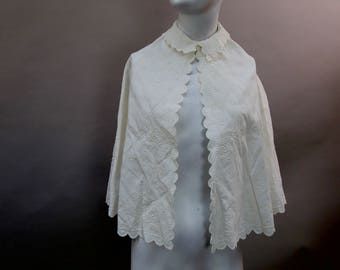 Antique Victorian whitework floral embroidered childs cape caplet