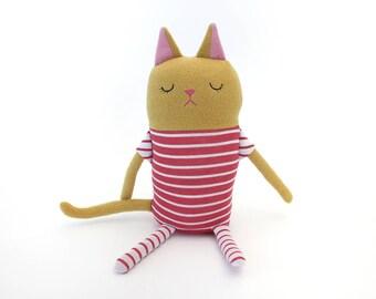 "Cat Sleepy Kitty in Pajamas ""Ollie"" Cotton Monster Plush"