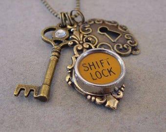 Typewriter key Jewelry Necklace Shift LOCK & KEY Typewriter Key Necklace and Antiqued Brass Skeleton Key Necklace keyhole steampunk boho