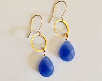 Vintage Blue and Gold Earrings, Gold Earrings, Blue Earrings, Vintage Earrings