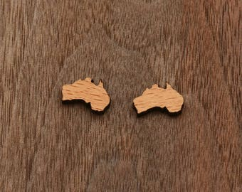 8 pcs Australian Map Wood Charm, Carved, Engraved, Earring Supplies, Cabochons (WC 314)