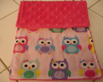 Sorbet Owls Baby Burp Cloth with Fuschia Minky 8 x 14 READY TO SHIP