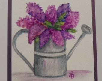 Watercolor Lilacs Card Lilacs Greeting Card Lilacs Watercolor Card Watercolor Flowers