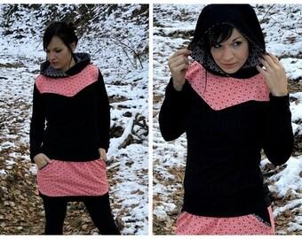 Black hoodie sweater geometrical print