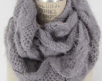 Knit Infinity Scarf Gray knitted Cowl soft scroll Loop Boho Chic neck wrap warm muffler Winter casual Accessory cozy neck warmer Gift idea