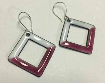 Square White/Pink Enamel Earrings