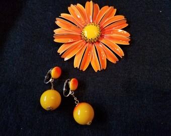 Sunflower Vintage Earrings and Brooch
