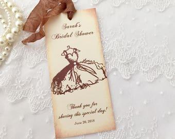 Bridal Shower Bookmarks, Favor Wedding Shower, Vintage Dress Set of 10