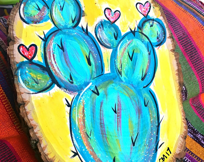 Cactus with Hearts WOOD PLAQUE