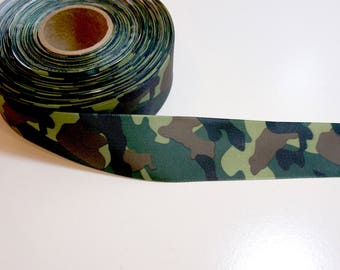 Camouflage Ribbon, Green Single-Faced Camouflage Satin Backed Ribbon 1 1/2 inches wide x 7 yards