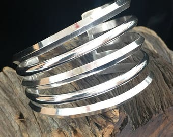 Asymmetrical Sterling Silver 5 Band Cuff (Woman's Large)
