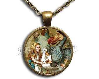 20% OFF - Alice in Wonderland with Dodo Bird Glass Dome Pendant or with Chain Link Necklace  AW108