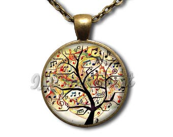 Music Lover Tree Notes Glass Dome Pendant or with Chain Link Necklace PR109