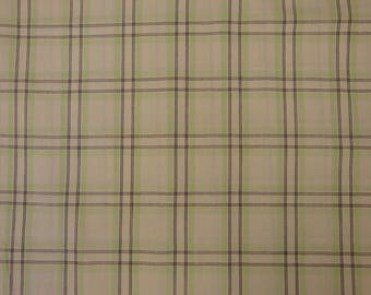 Large Plaid Fabric | Quilt Shop Fabric | Cotton Sewing Fabric | Marlene & Lacy Troyer Plaids MT-010 Natural, Brown And Spring Green | 1 Yard