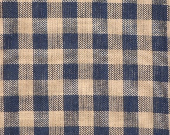 Large Check Material   Homespun Material   Navy Large Check Material    Cotton Material   Home Decor Material   Quilt Material   26 x 44