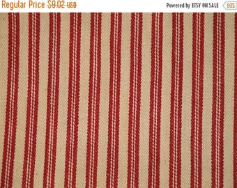 SALE SALE SALE Coffee Dyed Red Ticking Material | Cotton Ticking Material Coffee Dyed | 22 x 43