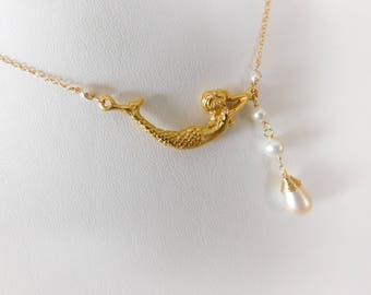 Mermaid Necklace - Pearl Necklace - Mermaid Jewelry