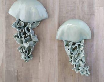 Sea blue Jellyfish. Choose Single medium floating wall sculpture. Ceramic ocean decor, wall art, beach house. Coastal bathroom decoration.