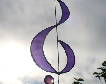 Musical Treble Clef - Purple Stained Glass