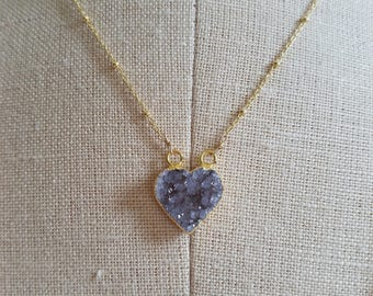 Petite Drusy Crystal Heart Pendant 14k Gold Vermiel Necklace