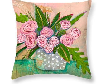 Floral Throw Pillow, Flowers, Roses, Pink, Green, Polka Dot, Botanical, Cotton Pillow