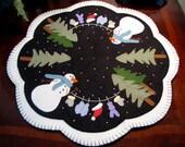"Hand Stitched ""Dress Me Up Frosty"" 17"" Wool-Felt - Candle Mat - Penny Rug - Folk Art - Primitive - Fiber Art - Wool Applique - Home Decor"