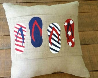 Handpainted Burlap Pillow Wraps for Independence day and summer with flip flops.