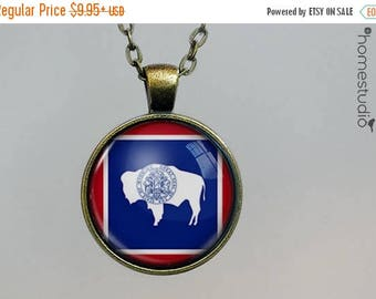 ON SALE - Wyoming Flag : Glass Dome Necklace, Pendant or Keychain Key Ring. Gift Present metal round art photo jewelry by HomeStudio