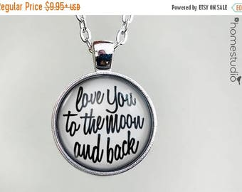 ON SALE - To The Moon (WHT) Quote jewelry. Necklace, Pendant or Keychain Key Ring. Perfect Gift Present. Glass dome metal charm by HomeStudi