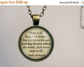 ON SALE - Emily Dickinson (Hope) Quote jewelry. Necklace, Pendant or Keychain Key Ring. Perfect Gift Present. Glass dome metal charm by Home