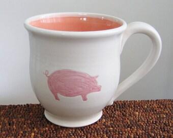 Pig Mug, Ceramic Stoneware Pottery Mug, Coffee Cup 16 oz. Wheel Thrown Handmade Mug, Pink and White
