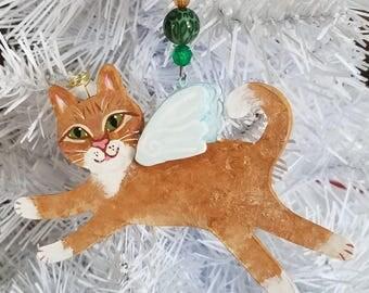 Orange Cat Angel Ornament - Cat Angel - Cat Memorial - Cat Gifts - Personalized Cat - Cat Loss Gift - Cat Sympathy - Cat Ornament