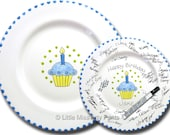 Free Shipping -Hand Painted Signature Birthday Plate -Blue Cupcake - Happy Birthday Plate - 1st Birthday - Birthday Cupcake - Birthday Gift