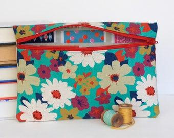 Teal Retro Floral Pencil Pouch Print Bag Makeup Bag