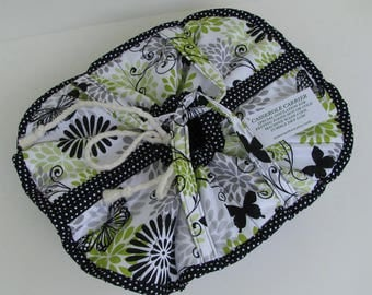 Casserole Carrier / 9 X 13 / Large / Insulated / Food Carrier / Hot or Cold Foods / Bridal Gift / Butterflies / Lime / Black / Gray