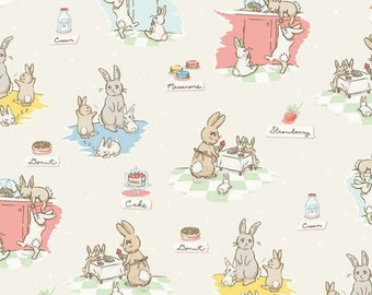 "ON SALE Penny Rose Fabrics ""Bunnies and Cream"" Cream Main"