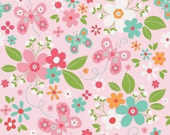 EXTRA15 20% OFF Riley Blake Designs Garden Girl by Zoe Pearn - Main Pink