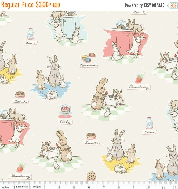 "ON SALE Penny Rose Fabrics ""Bunnies and Cream"" Cream Main"