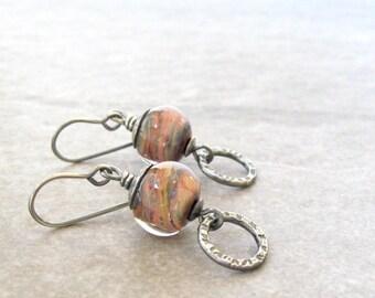 lampwork glass earrings, earthtone dangle earrings, metalwork earrings, sterling silver jewelry, oxidized silver, multi color drop earrings